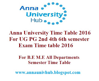Anna university time table 2016 for ug pg 2nd 4th 6th for Bu time table 6th sem