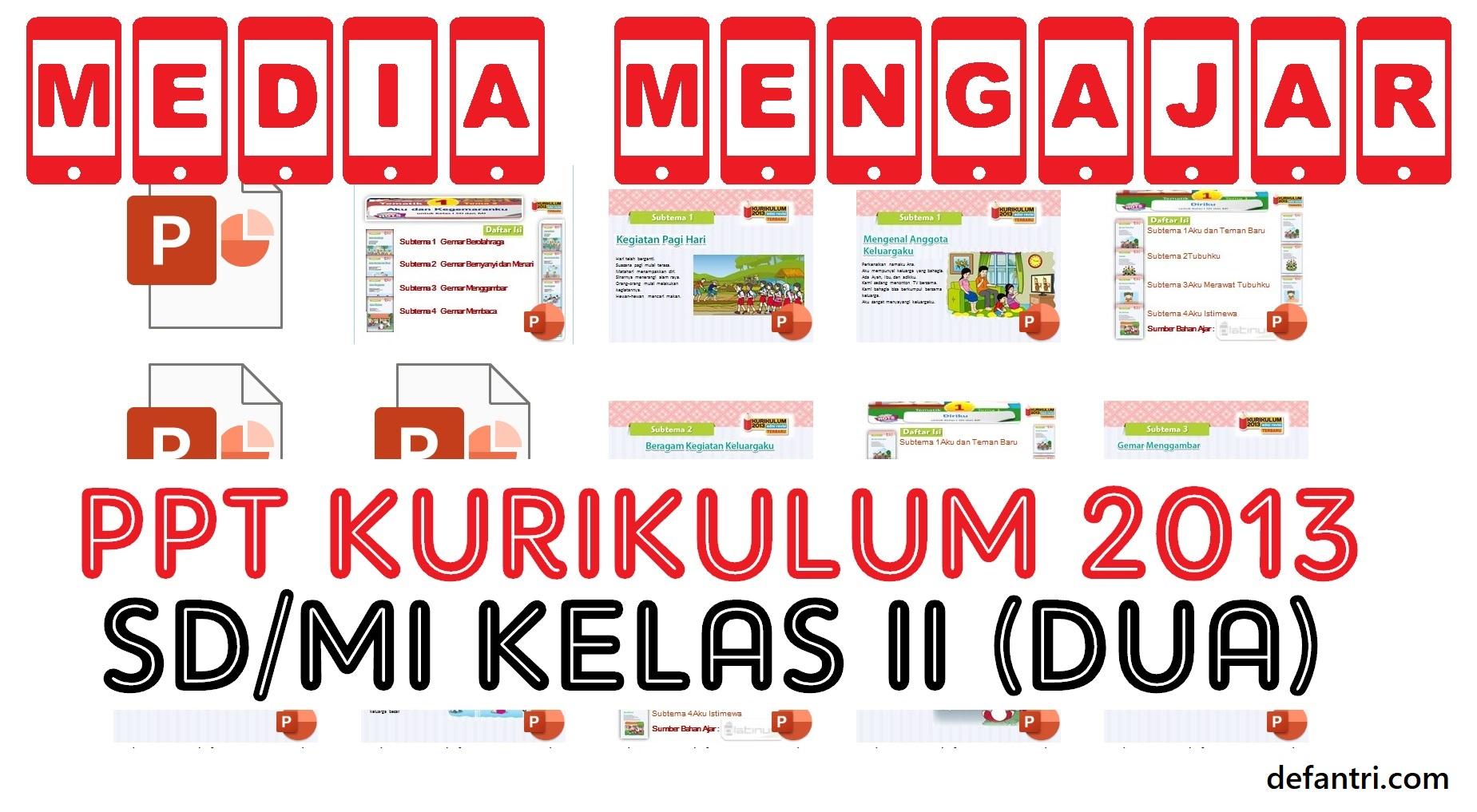 Download Media Pembelajaran PowerPoint Kurikulum 2013 Sekolah Dasar (SD) atau Madrasah Ibtidaiyah (MI) Kelas II (Dua) Semua Tema