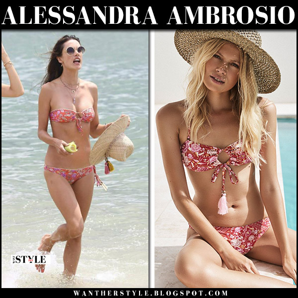 Alessandra Ambrosio in red floral print bikini babushka with straw hat on the beach summer style 2018