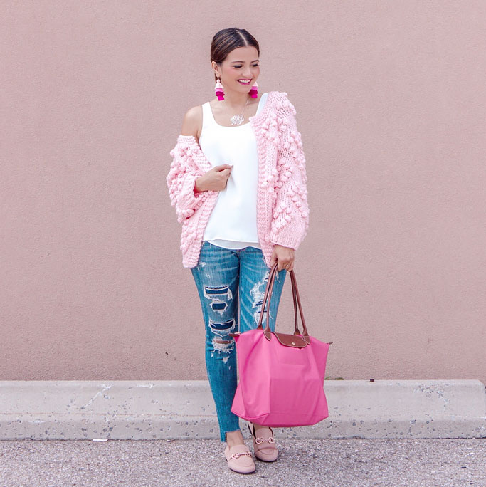 Chicwish Pink Chunky Knit Bobble sweater distressed jeans pink longchamp large le pliage bag blogger outfit