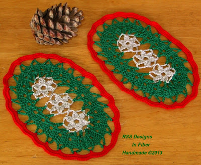 Oval Coasters - Silver Flowers in Green with Bright Red Border - Handmade By Ruth Sandra Sperling at RSS Designs In Fiber