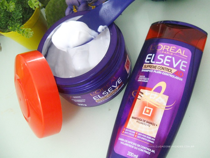 Máscara e Shampoo Elseve Supreme Control 4D