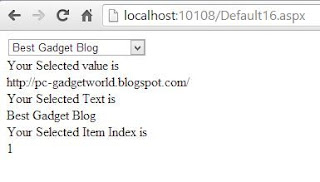 How to access Text property , Value ,Index from DropDownList in ASP.NET