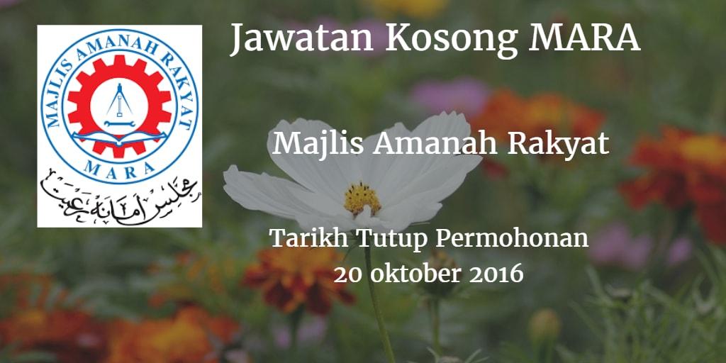 Jawatan Kosong MARA 20 Oktober 2016