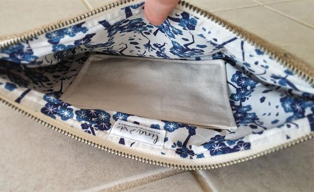 Blue Bean Burlap Clutch - www.linaandvi.blogpost.com