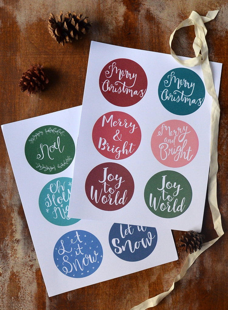 colorful printable Christmas gift tags