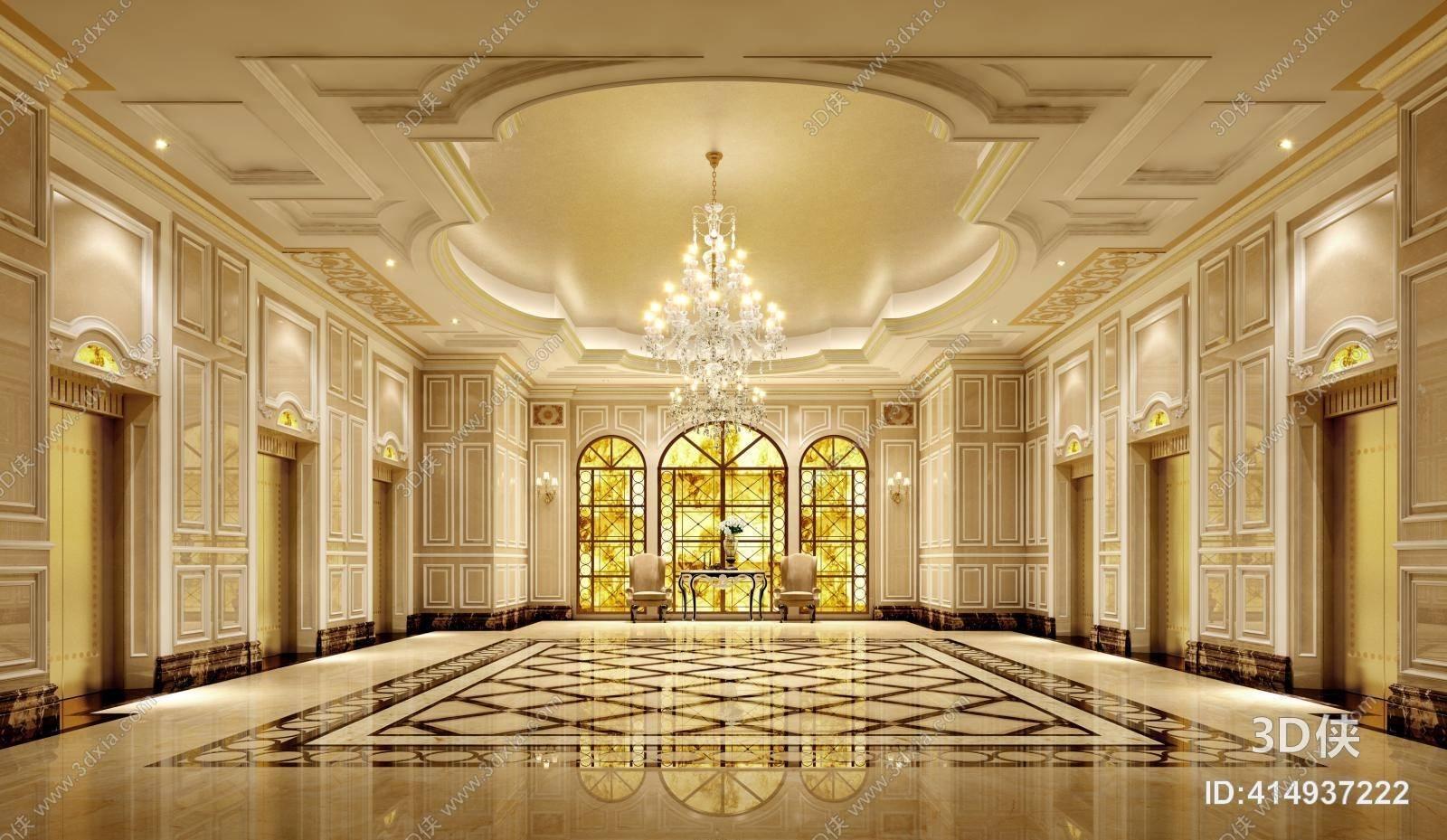 Classic European hotel lobby | Library Free 3D