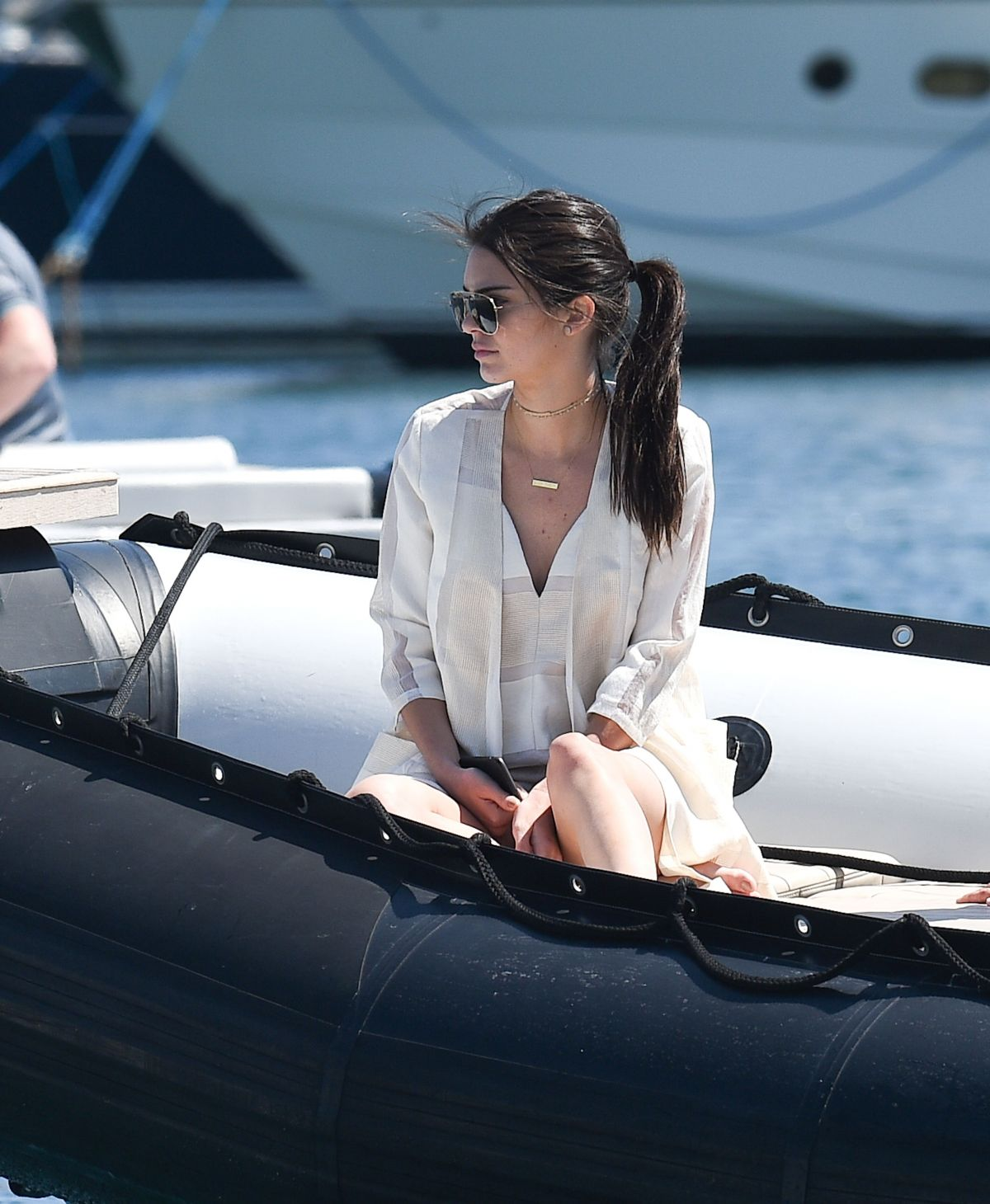 Kendall Jenner Wears White as She Boards a Yacht in Cannes