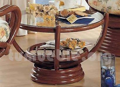 mesa de centro hecho en rattan natural j672