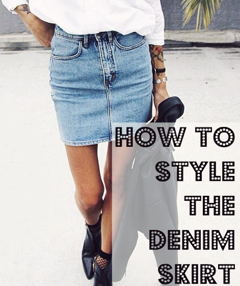 denim skirt outfits