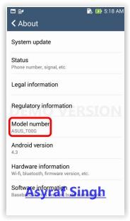 check your Device model Asus ZenFone Selfie (ZD551KL)