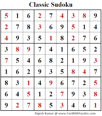Classic Sudoku (Fun With Sudoku #104) Puzzle Solution