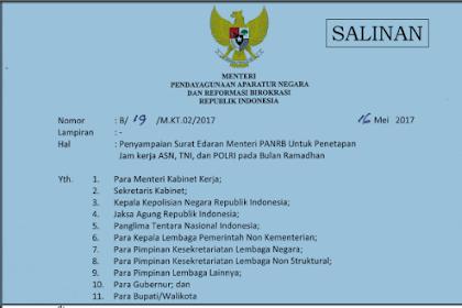 Surat Edaran Menteri PANRB Tentang Penetapan Jam Kerja ASN, TNI, dan POLRI Pada Bulan Ramadhan
