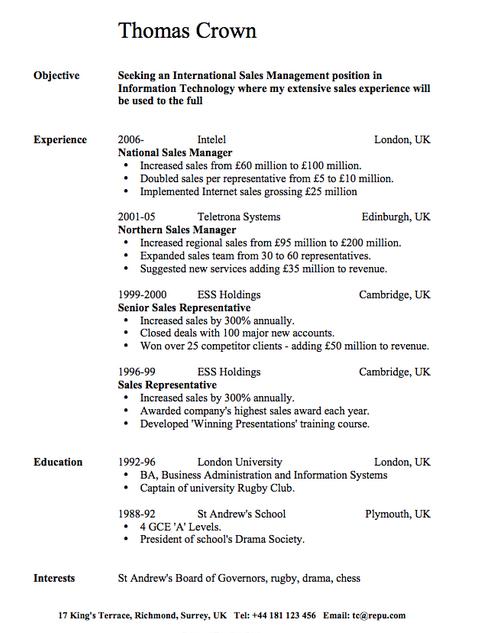 contoh cv resume bahasa inggris 2018