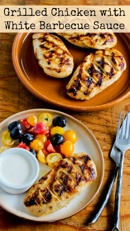 Grilled Chicken with White Barbecue Sauce found on KalynsKitchen.com