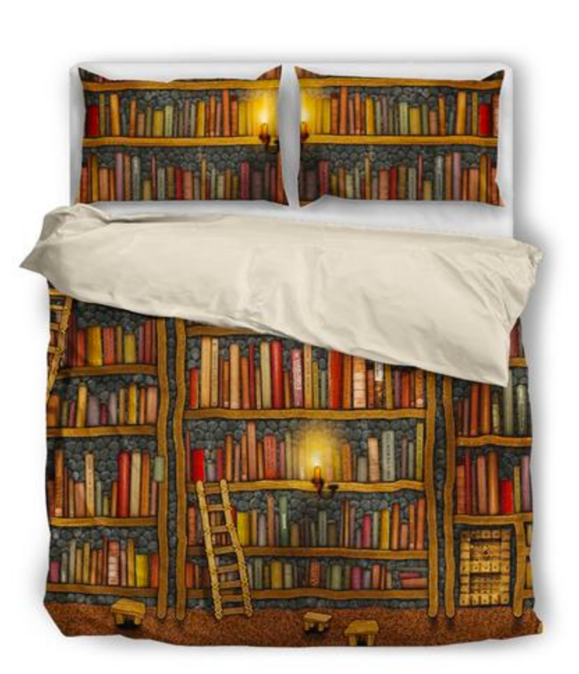 Bookshelf Book Reader Bedding Set