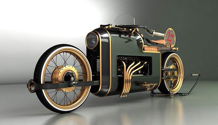konsept vintage görünümlü motorsiklet resimleri