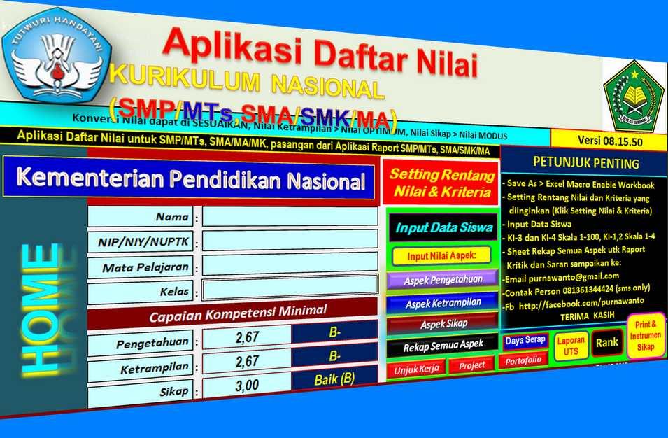 Aplikasi Penilaian Kurikulum Nasioan Menggunakan Excel dari Purwanto