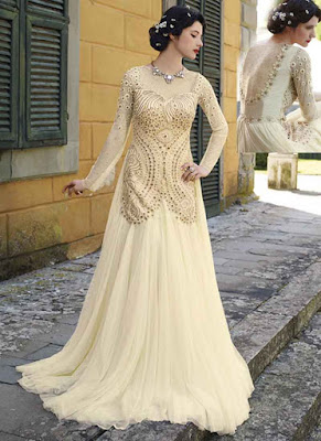 Organic off-white thread diamond work net wedding gown.