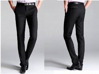 Celana kain panjang pria hitam gelap