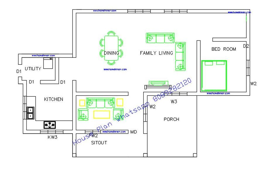 Free kerala house plans below 1000 square feet indian for House plans below 1000 sq ft kerala