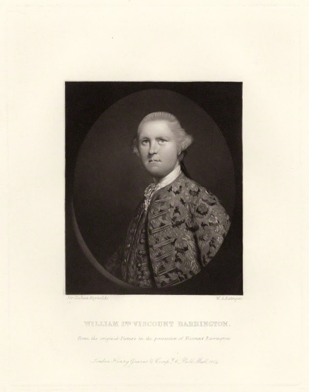 William Wildman Barrington, 2nd Viscount Barrington by W.A. Rainger, after Sir Joshua Reynolds, 1864 (1762)
