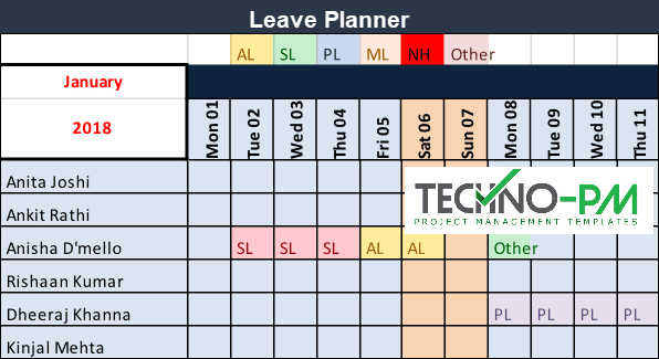 Team Leave Plan Calendar Template, Leave Planner