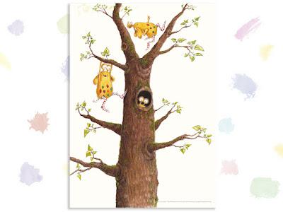 Kinderbuchillustration, Baum, Monster, niedlich, Pumpf, Loni lacht!, Kinderbuch, Glück, Resilienz, glücklich sein, Kindergarten, Vorschule