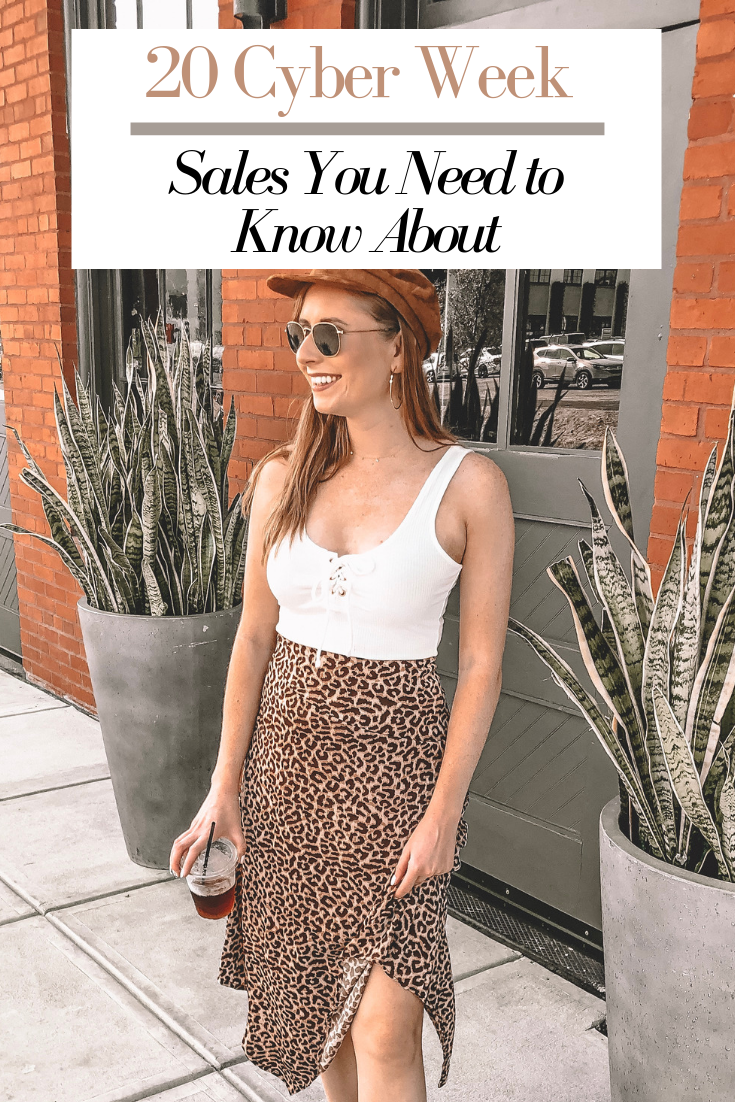 Tampa blogger Amanda Burrows is standing outside of Armature Works in Tampa, Florida. She is wearing a cheetah print skirt from Cotton On. She is holding a drink in her hand. The top cyber week deals are here. These are the sales for Black Friday that you need to know about.