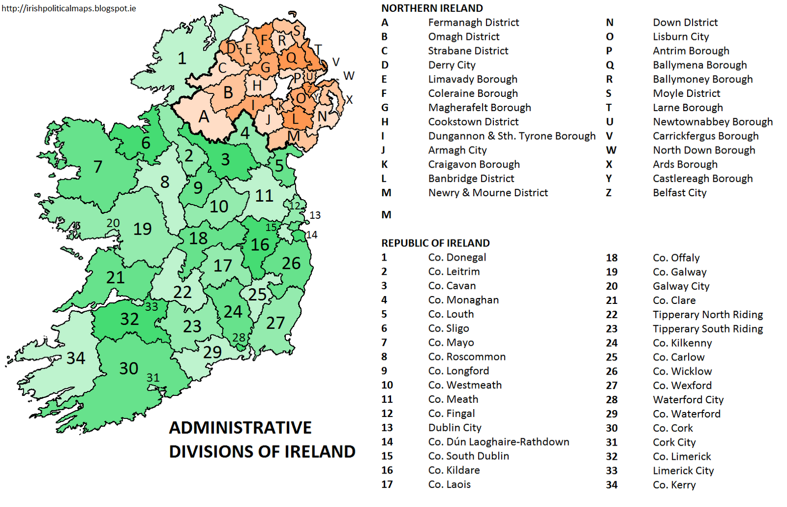 Map With Counties Of Ireland.Irish Political Maps The Counties Of Ireland
