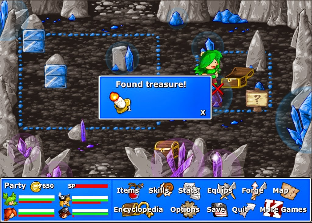 Finding treasures in the Crystal Caverns. Oooo, a candle.