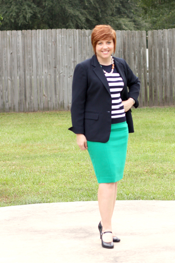 striped top with green skirt