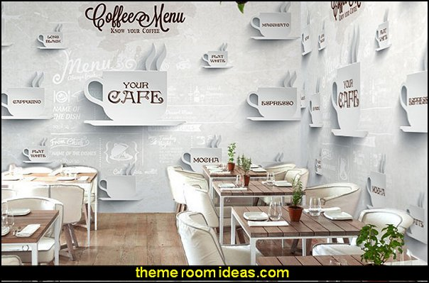 European fashion coffee large mural wood blackboard wallpaper restaurant leisure tea shop seamless wallpaper