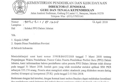 Informasi Seleksi PPG Dalam Jabatan