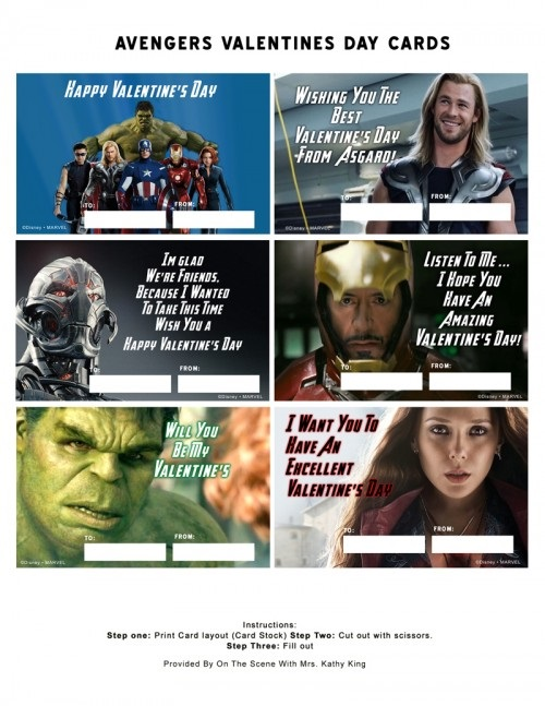 Avengers Valentines Day Cards