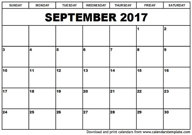 September 2017 Calendar, 2017 Calendar. Calendar 2017, Monthly Calendar 2017