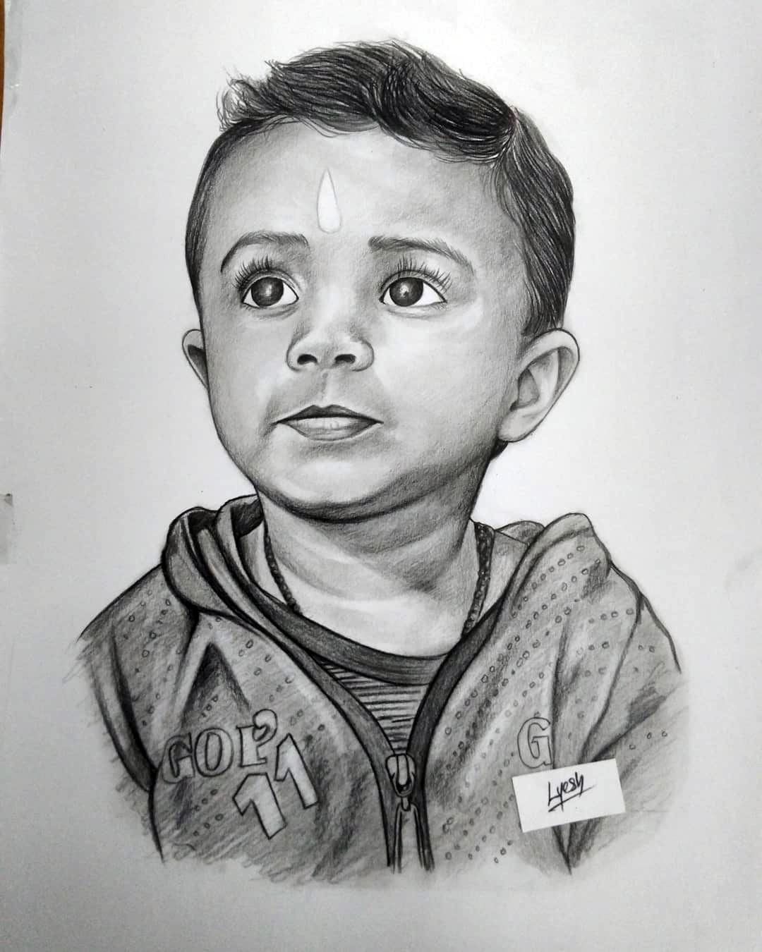 pencil drawing of a kid