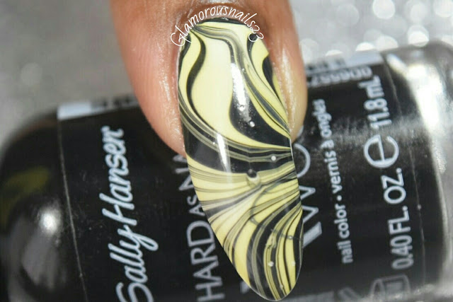 Black & Yellow Watermarble Using Beyond The Nail Spring Yellow
