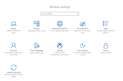 Windows settings