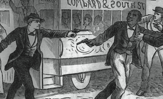 Published drawing of Catto being shot by white protestor