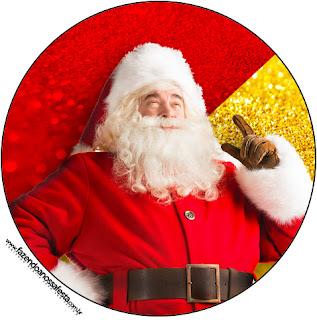 Toppers o Etiquetas de Santa Claus en Rojo y Dorado para imprimir gratis.