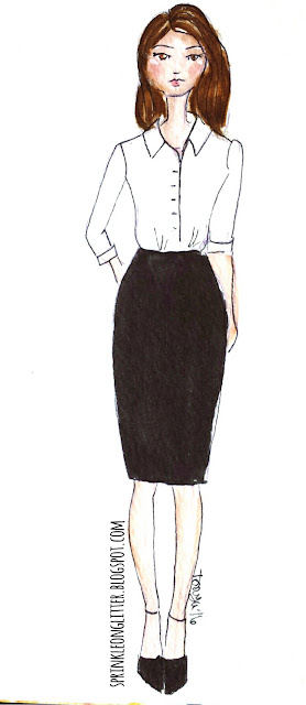 Sprinkle On Glitter Blog// Illustrated Capsule Wardrobe- skirt// skirt & shirt