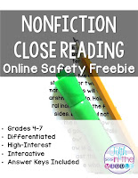 Nonfiction Close Reading Online Safety Free Product