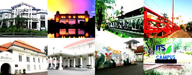 Dari Kiri: Rumah Hantu Darmo, Pintu Air Jagir, Delta Plaza Surabaya, Jembatan Merah Dari Kiri Bawah: Kampus UNAIR, Gedung Grahadi, Penjara Kali Sosok, Kampus ITS