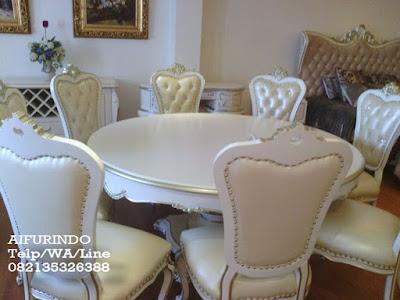 Jual Meja makan duco putih,mebel duco jepara,Furniture klasik mewah
