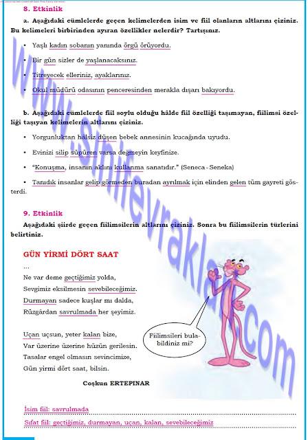 8. Sınıf Türkçe Dörtel Yayınları Çalışma Kitabı Cevapları Sayfa 15