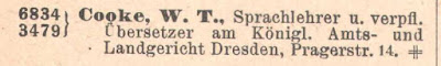 Entry in 1909 Dresden telephone book for William Thomas Cooke (from Ancestry.co.uk)