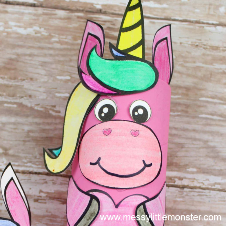 cardboard tube unicorn craft for preschoolers with unicorn template