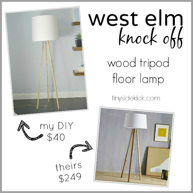 West Elm inspired wood tripod floor lamp