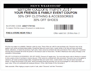 Men's Wearhouse coupons for march 2017